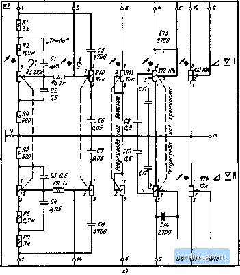 ...(а), усилителей (б), генератора тока стирания и подмагничивания (в), блока регуляторов (г) магнитофона...
