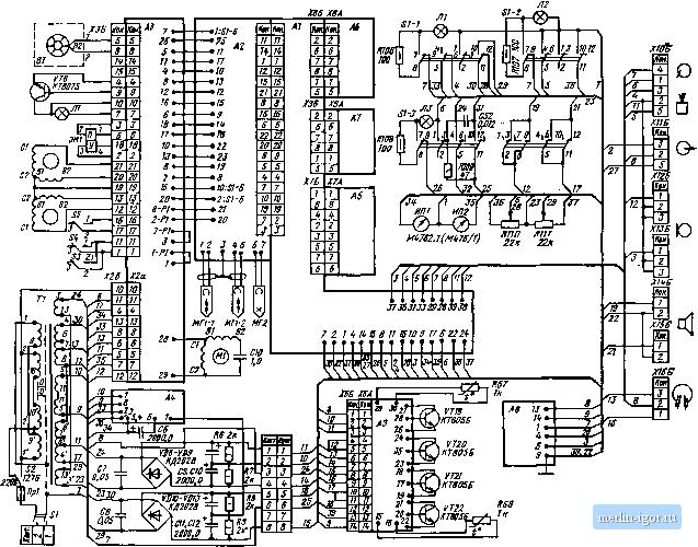 Электрическая принципиальная схема магнитофона Рута-201 стерео. уснлнтелн н усилители запнсн, электронные коммутаторы...